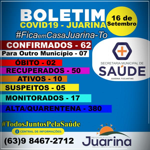 Boletim Diário (COVID19) Juarina Tocantins dia 16 de Setembro