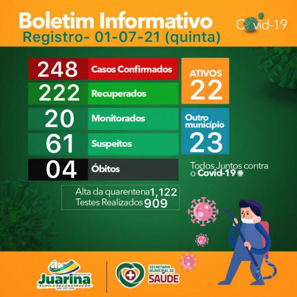 Boletim Diário (Covid 19) Juarina Tocantins dia 01 de julho 2021